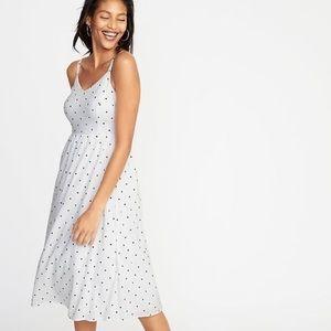 Adorable white with black polka dot midi dress